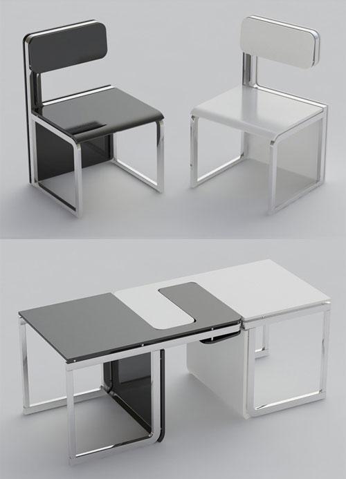 10 ideias criativas e úteis para móveis e objetos: cadeiras que se transformam em mesinhas