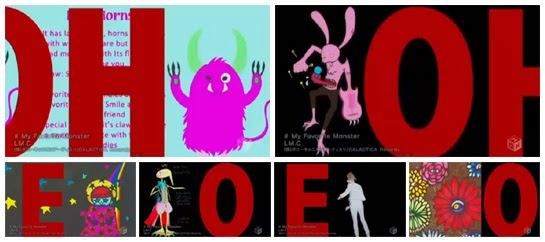 """OH"", ""OH"", ""E"", ""O"", ""E"", ""O"" in large red letters next to fan submitted monsters and Maya."