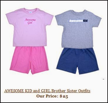 "Image of two kid outfits for sale, one blue with ""Awesome Kid"" on the shirt and the other pink with ""Awesome Girl"" on the shirt."