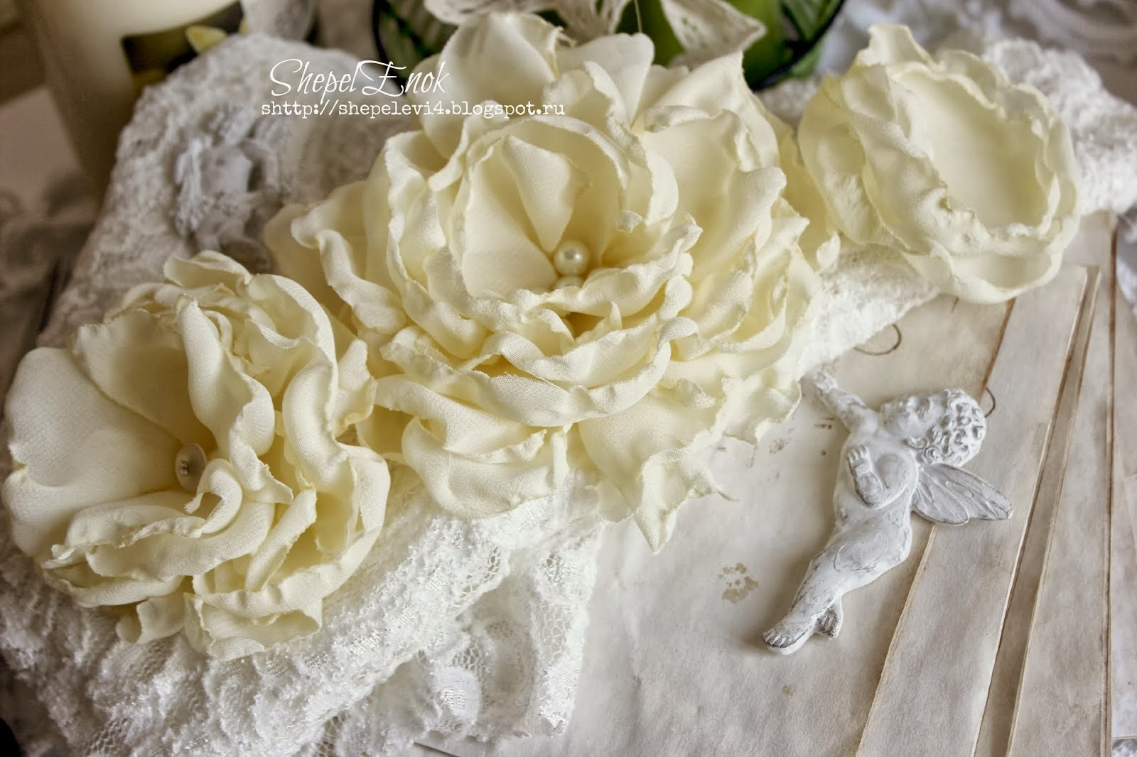 МК цветы из шифона