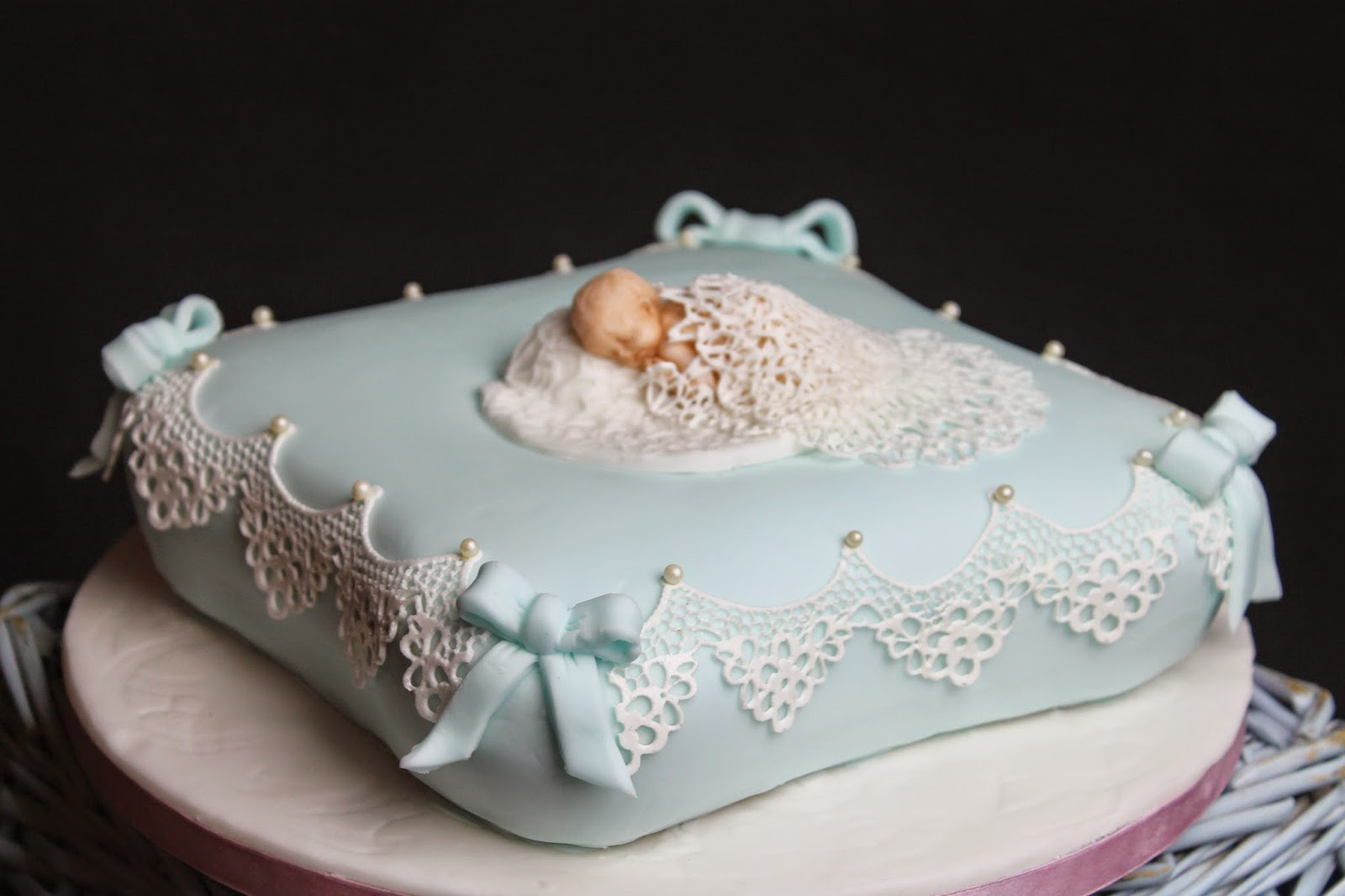 Lick The Spoon: Blue Cushion Christening Cake with Sugar ...