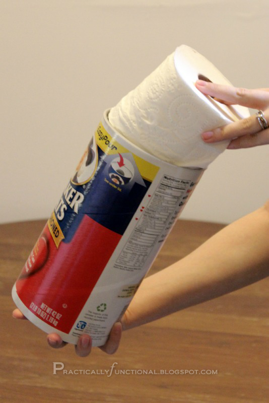 Upcycle oatmeal canister to toilet paper holder for Diy toilet paper storage