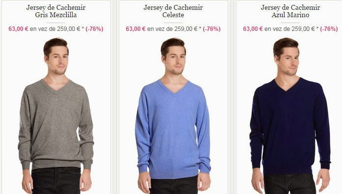 Tres modelos de jerséis de cachemir con cuello de pico