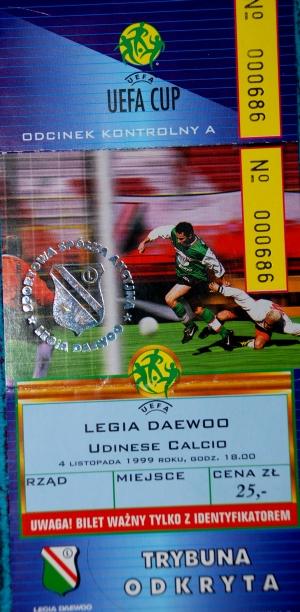 Bilet z meczu Legia - Udinese z 1999 r. - fot. Tomasz Janus / sportnaukowo.pl