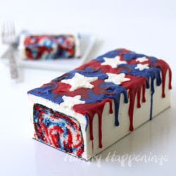 Red, White, and Blue Tie-Dye Cake