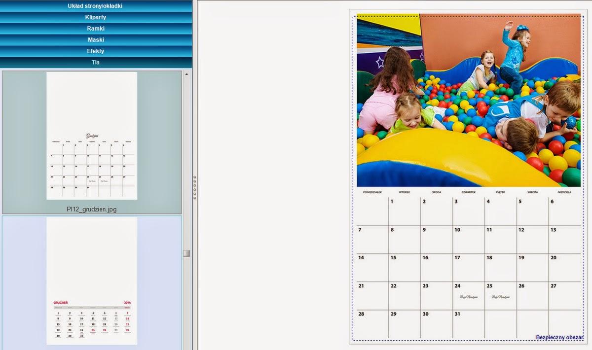 Projekt fotokalendarza - kalendarium jako tło