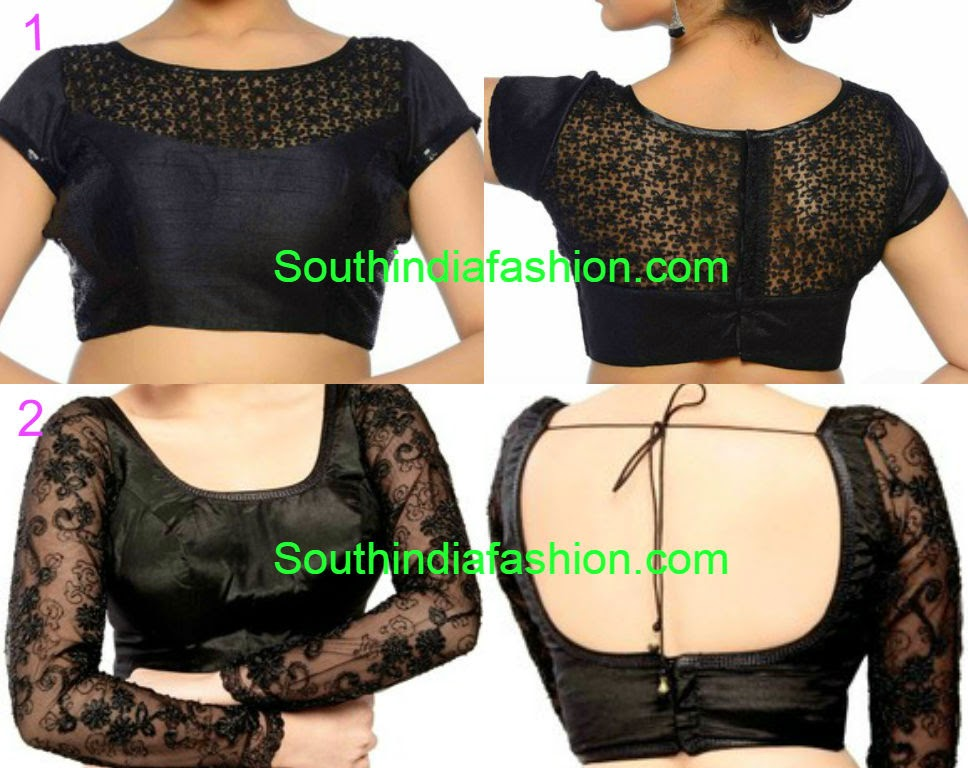 readymade black sari blouse designs