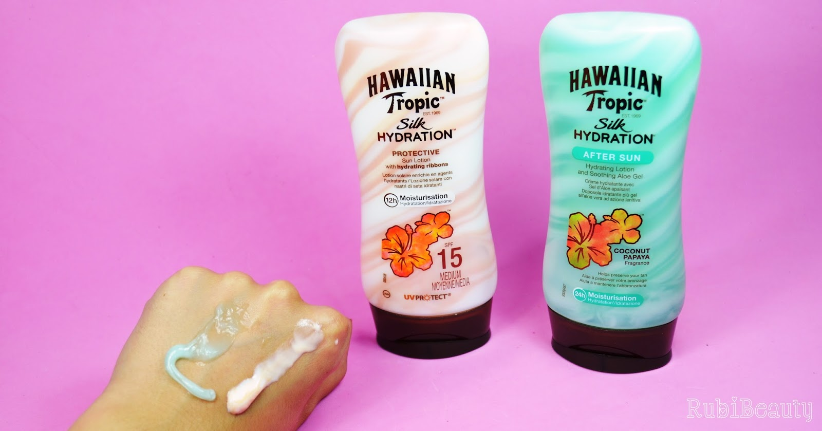 rubibeauty review hawaiian tropic silk hydration protector aftersun trnd swatch