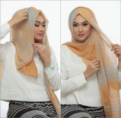 langkah 3 - 5 Cara Memakai Jilbab dengan Scarf Panjang ala Si Cantik Nada Puspita
