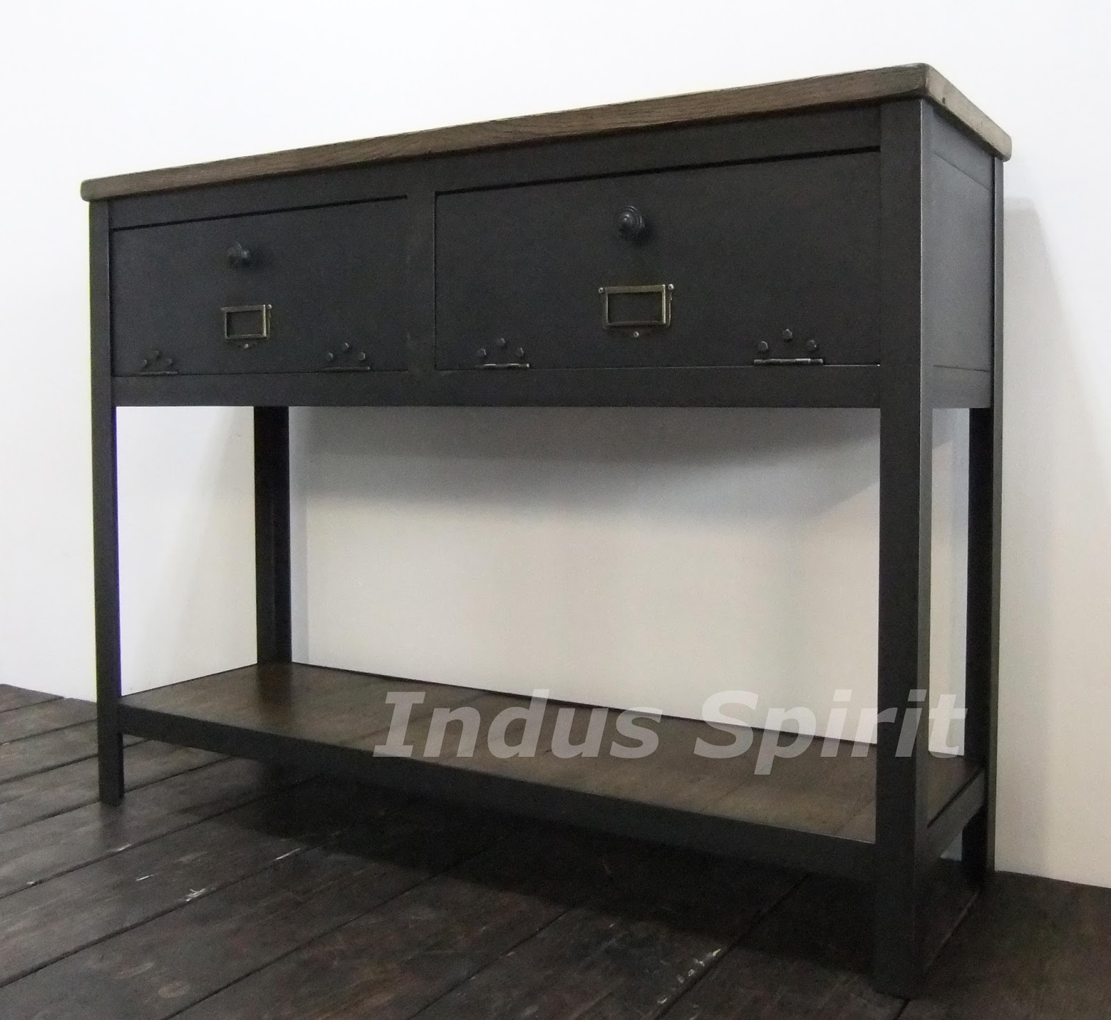 console industrielle bois et m tal. Black Bedroom Furniture Sets. Home Design Ideas