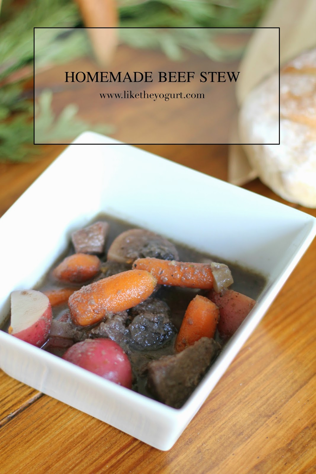 homemade beef stew made from scratch warm hot Christmas recipe french baguettes dannon k collard blogger food network