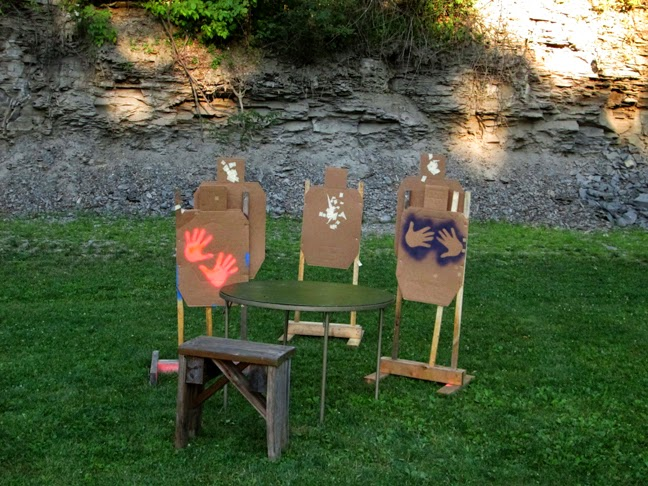 seated at the table engage the shoot targets