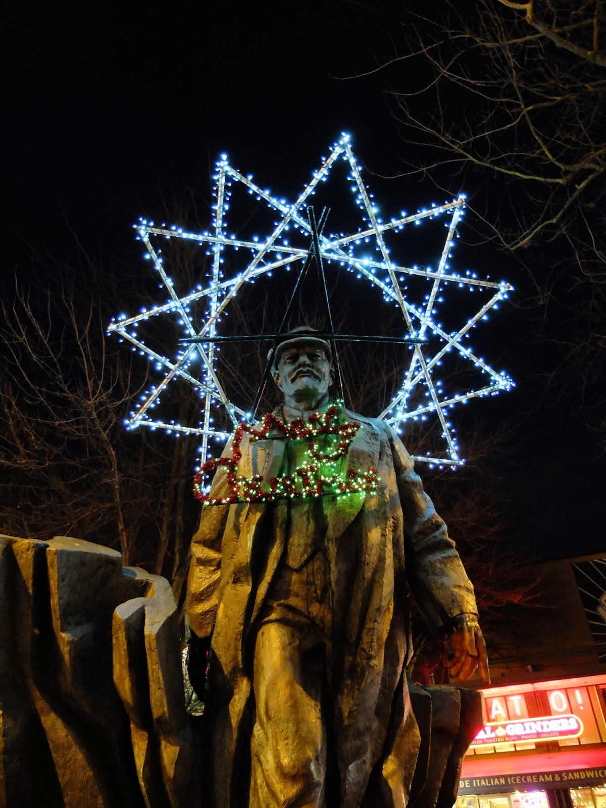 Lenin Statue in Fremont Decorated for Christmas