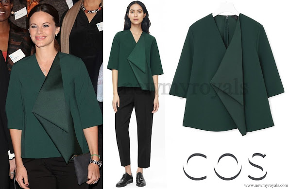 Princess Sofia Hellqvist Wears COS Drape Detail A-line Top