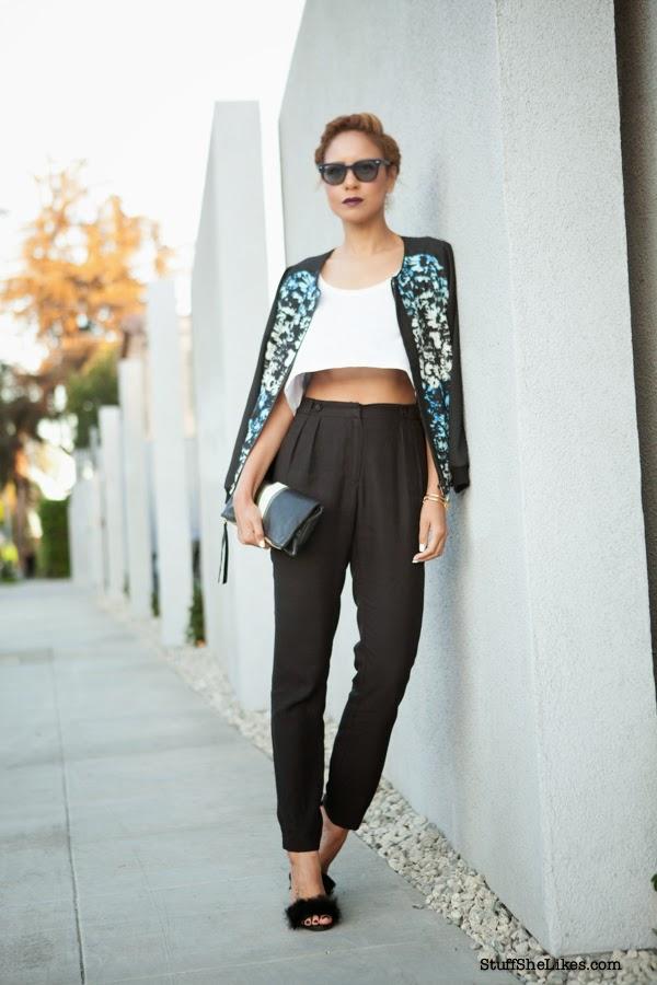 crop top. high waist pants, topshop heels, rayban sunglasses, j crew, maya brenner earrings