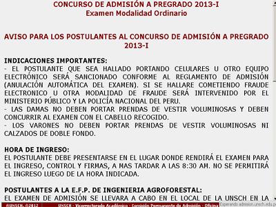 Resultados examen Ascenso de Categoría UNSCH 2013 - 1 11 de Noviembre
