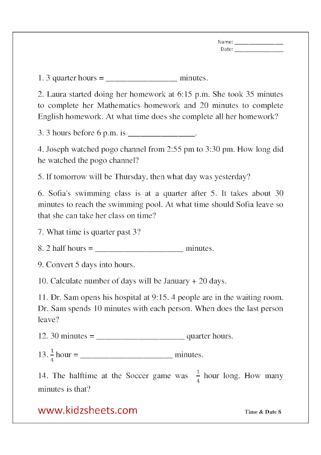 Free Printable Third grade Worksheets,Free Worksheets, Kids Maths Worksheets, Maths Worksheets, Third grade Time & Date , Third grade Time, Third grade Date, Time & Date, , Third grade,  Kids Time & Date, kids Time word problems, Kids Date word problems, quarter past, quarter to