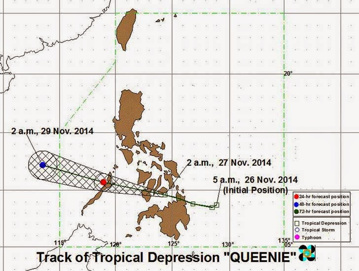 Bagyong Queenie: November 27, 2014 PAGASA Weather Forecast