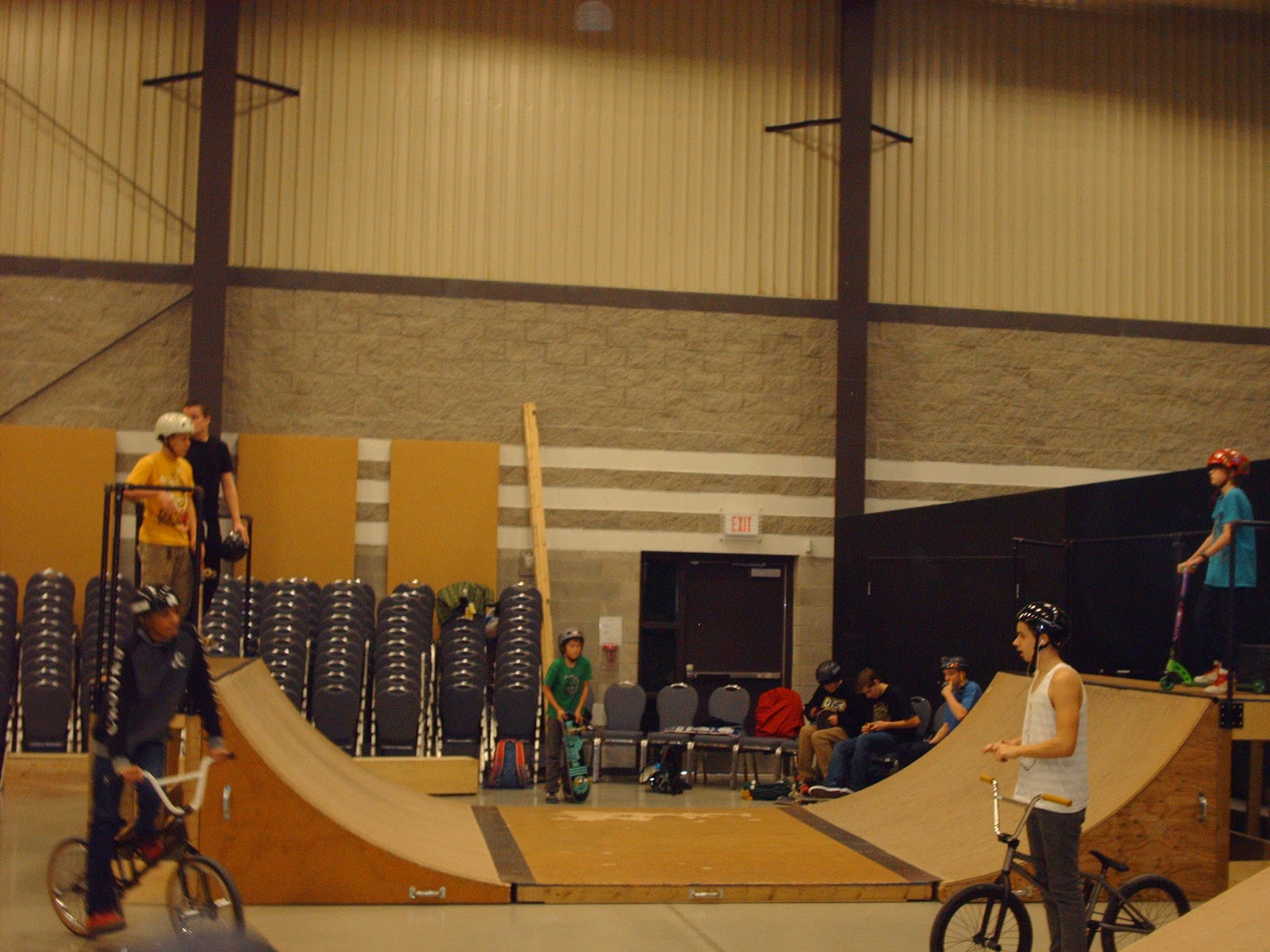 indoor skatepark, skateboarding, wooden ramps
