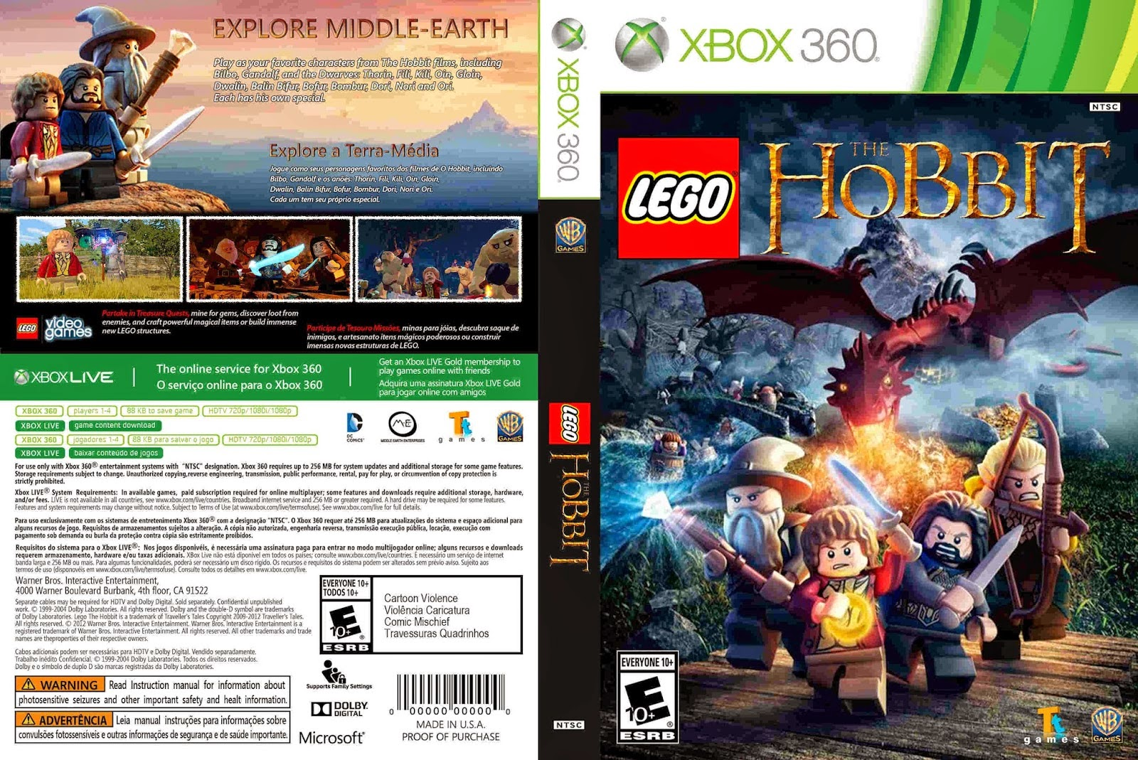 Capa The Lego Hobbit XBOX 360