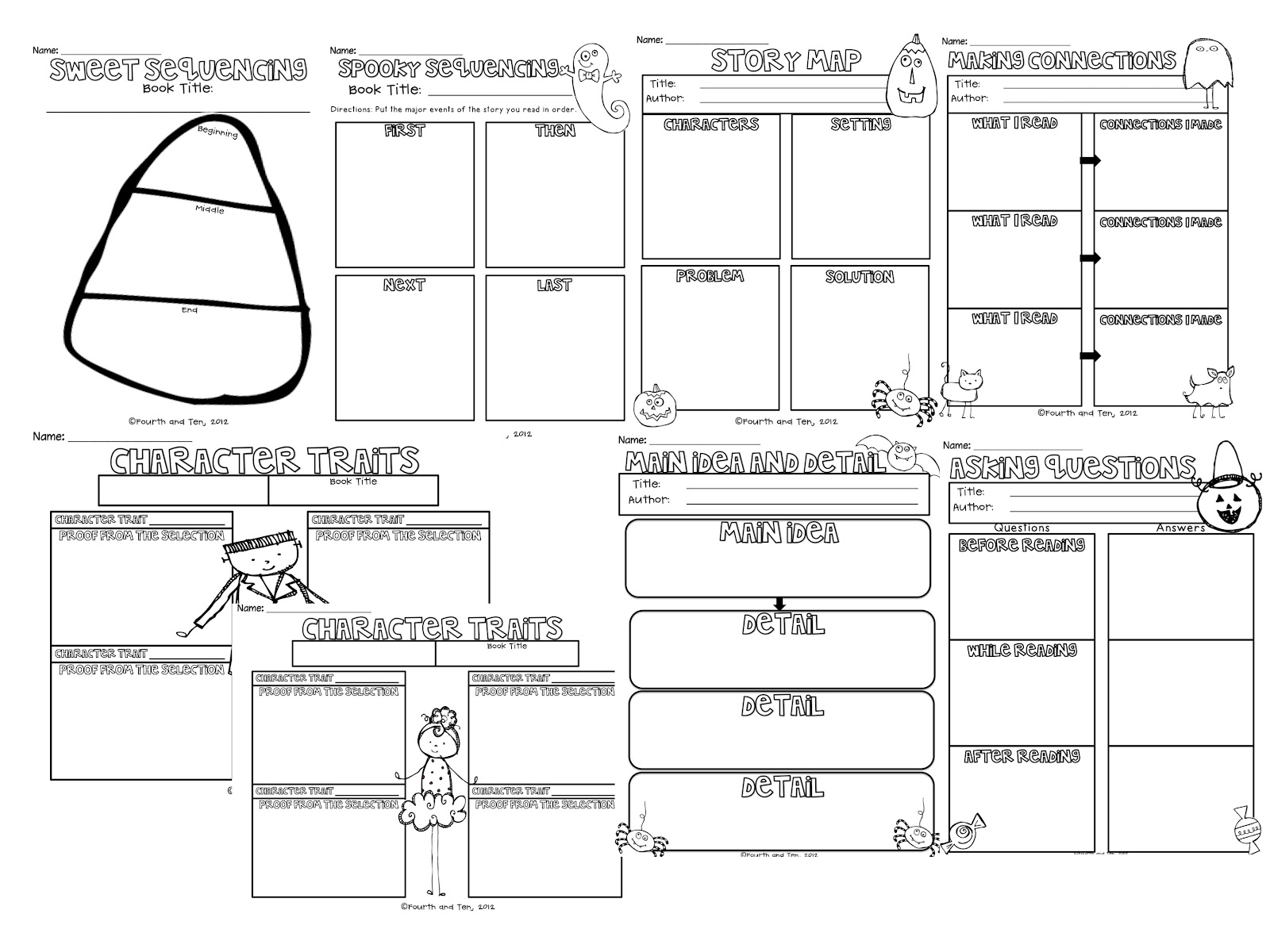 fourth and ten: halloween themed reading graphic organizers