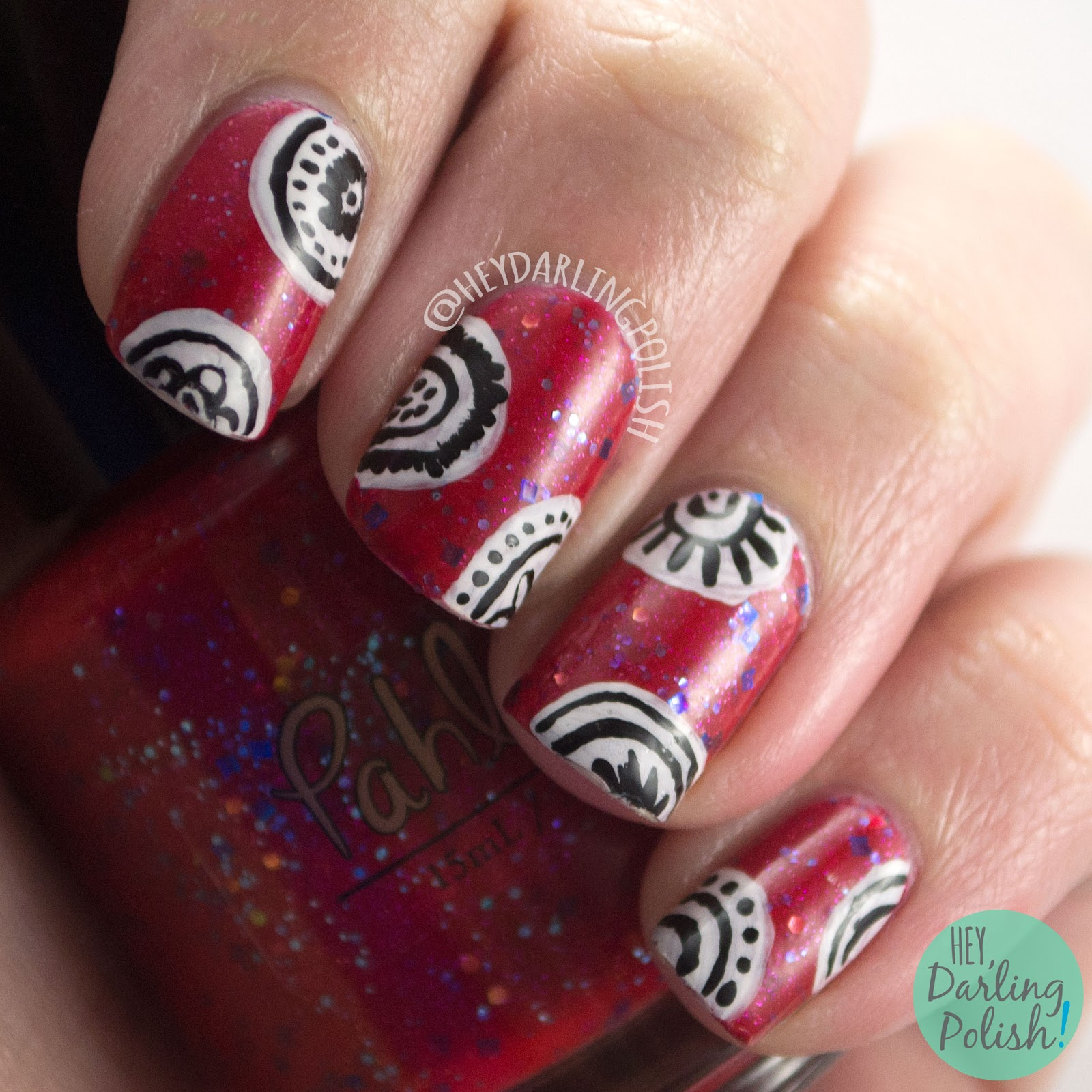 indie polish, nails, nail art, nail polish, red, hey darling polish, freehand, 2015 cnt 31 day challenge