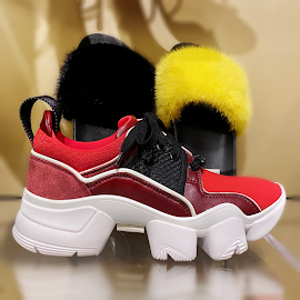 Givenchy JAW multi patch neopreen suede sneakers and furry slides.