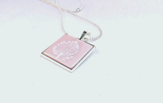 Pink Pearl Leaf Pendant handmade by BettysRubble
