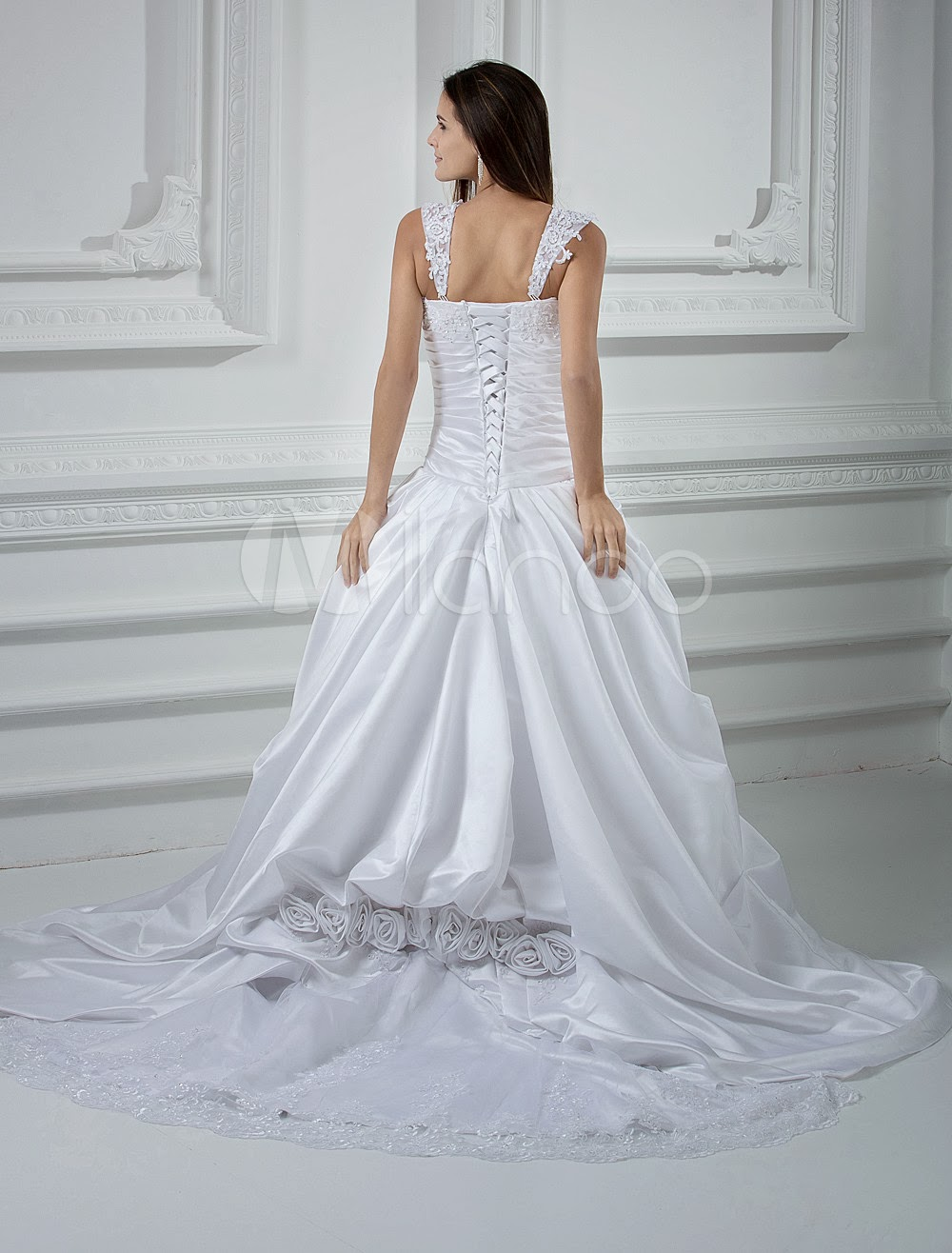 China Wholesale Dresses - Lace White A-line Sweetheart Beading Applique Satin Luxury Wedding Dress