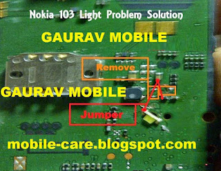 Solve your nokia 103 Mobile phone display light problem easily use this tricks. first you need to clean this motherboard than problem is not solve make this jumper follow this image you can solve your problem.