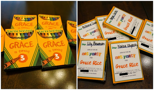 art party, Gracie's Art Party, DIY, DIY invitations, Crayola, Crayola Crayons, Crayon invitations, Art party,