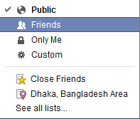 Facebook settings friends