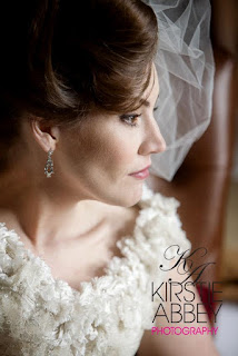 poised bride with beautiful hairstyle and veil accessory