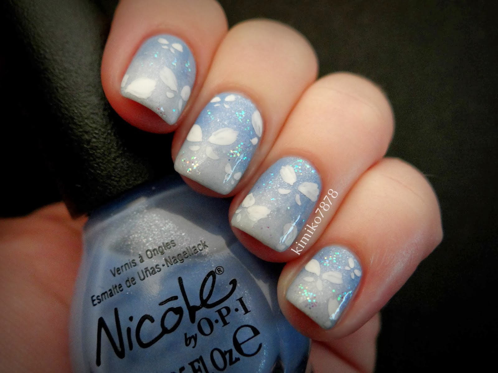 Kimikos Nail Art Baby Blue Gradient With Butterflies