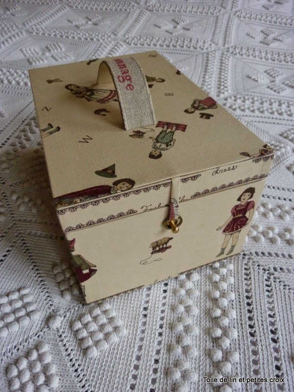 Toile de lin et petites croix boite cartonnage - Colorant pour huile de lin ...