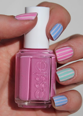 Essie Pastel Stripes Nail Art with Cascade Cool