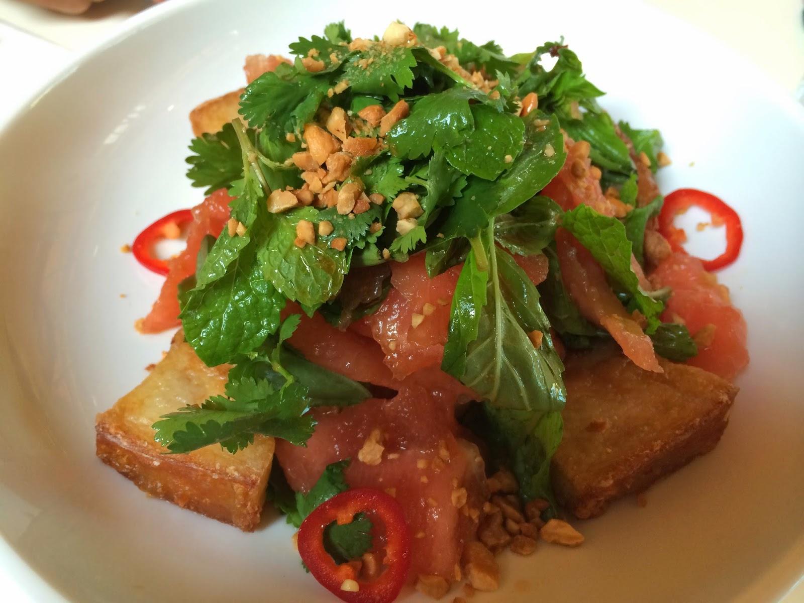 crisp pork and watermelon salad fried pork watermelon basil mint