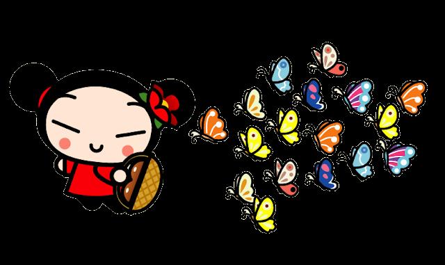 Desenho Pucca brincando com borboletas colorido com fundo transparente