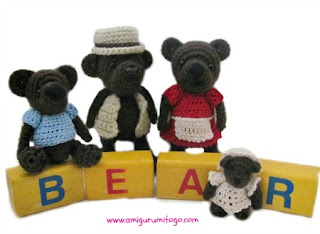 miniature crochet brown bears with clothes