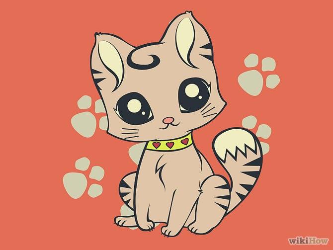 Cartoon Anime Drawing of a cartoon cat