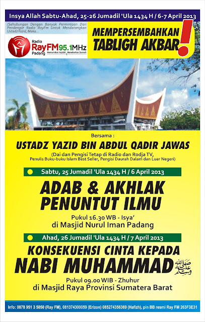 Tabligh Akbar Ustadz Yazid Abdul Qodir Jawas di Padang