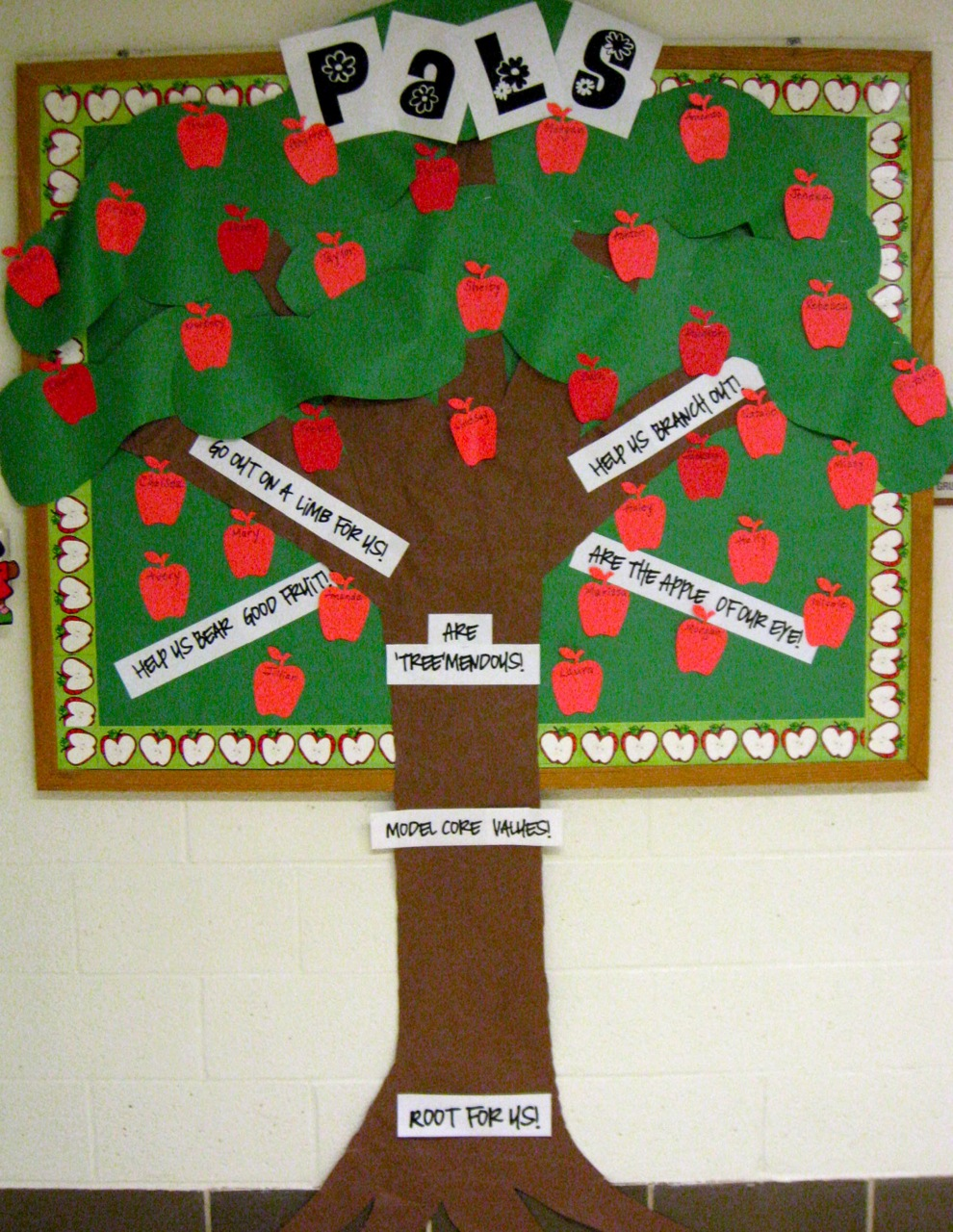 The corner on character our newest crop of pals for Apple tree classroom decoration