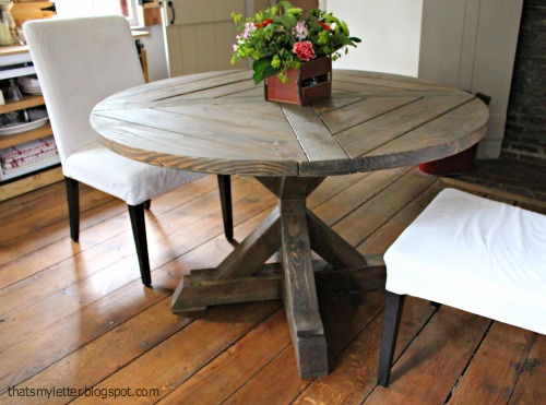 that 39 s my letter diy x base circular dining table. Black Bedroom Furniture Sets. Home Design Ideas