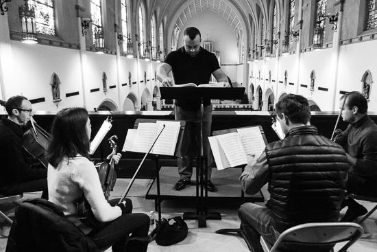 Gyros String Quartet rehearsing at St. Thomas Aquinas