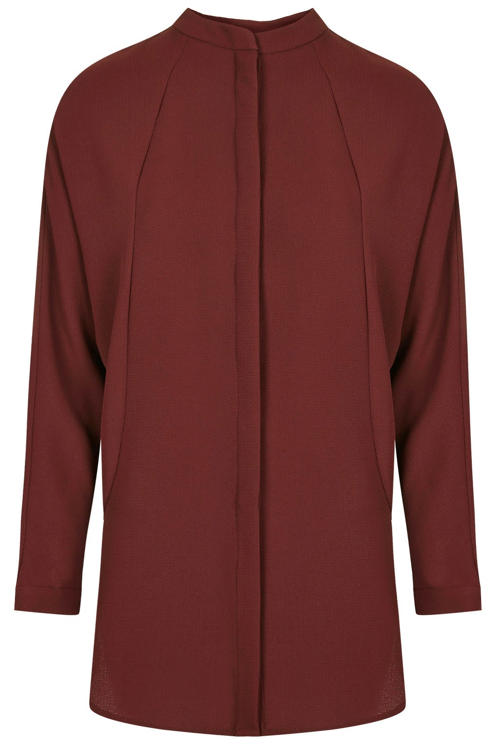 burgundy grandad collar top