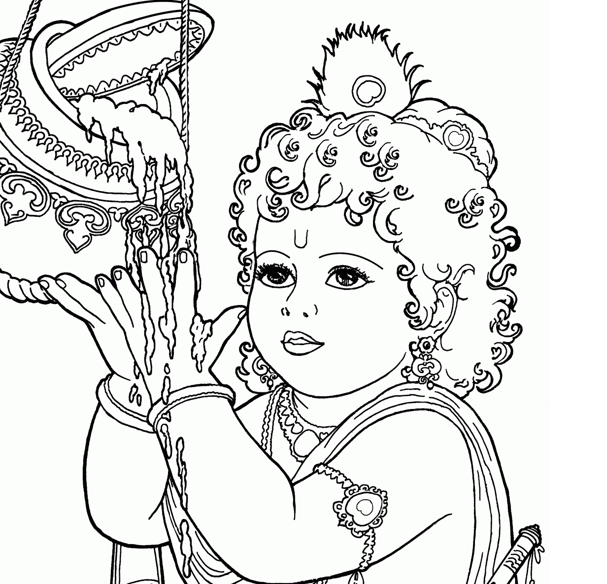 Baby Krishna Drawing Pictures Coloring Pages Sketch Coloring Page