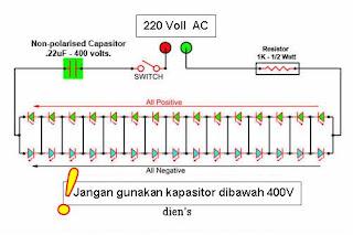 Berikut adalah rangkaian lampu hemat energi / yang terbuat dari LED.