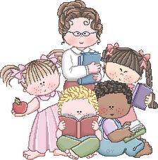 Desenho de professora e alunos colorido