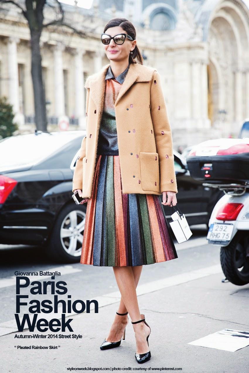Paris Fashion Week Autumn-Winter 2014 Street Style - Pleated Rainbow Skirt