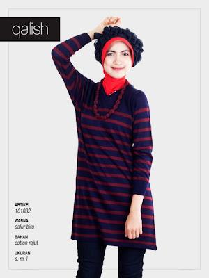 Koleksi Qallish Busana Muslim Salur Biru Model Kedua